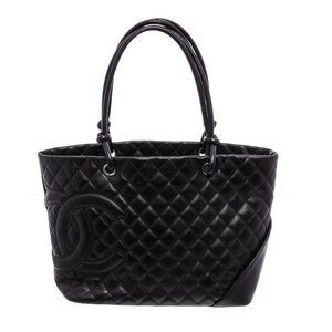 Chanel Black Quilted Leather Ligne Cambon Tote